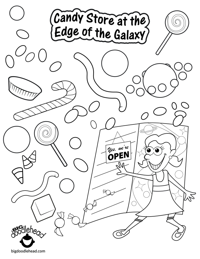 "Free Coloring Page – ""Candy Store At the Edge of the Galaxy"" 
